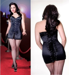 black satin mini corset dress kn040black  corstes for